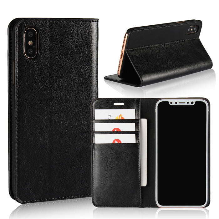 Automatic Adsorption Magnetic Genuine Leather Wallet Folio Cover Case for iPhone X 8 7 6 Plus 5 S 4