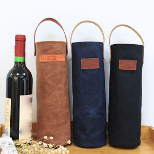 Leather Handle Waxed Canvas Wine Tote Bag Wine Carrier