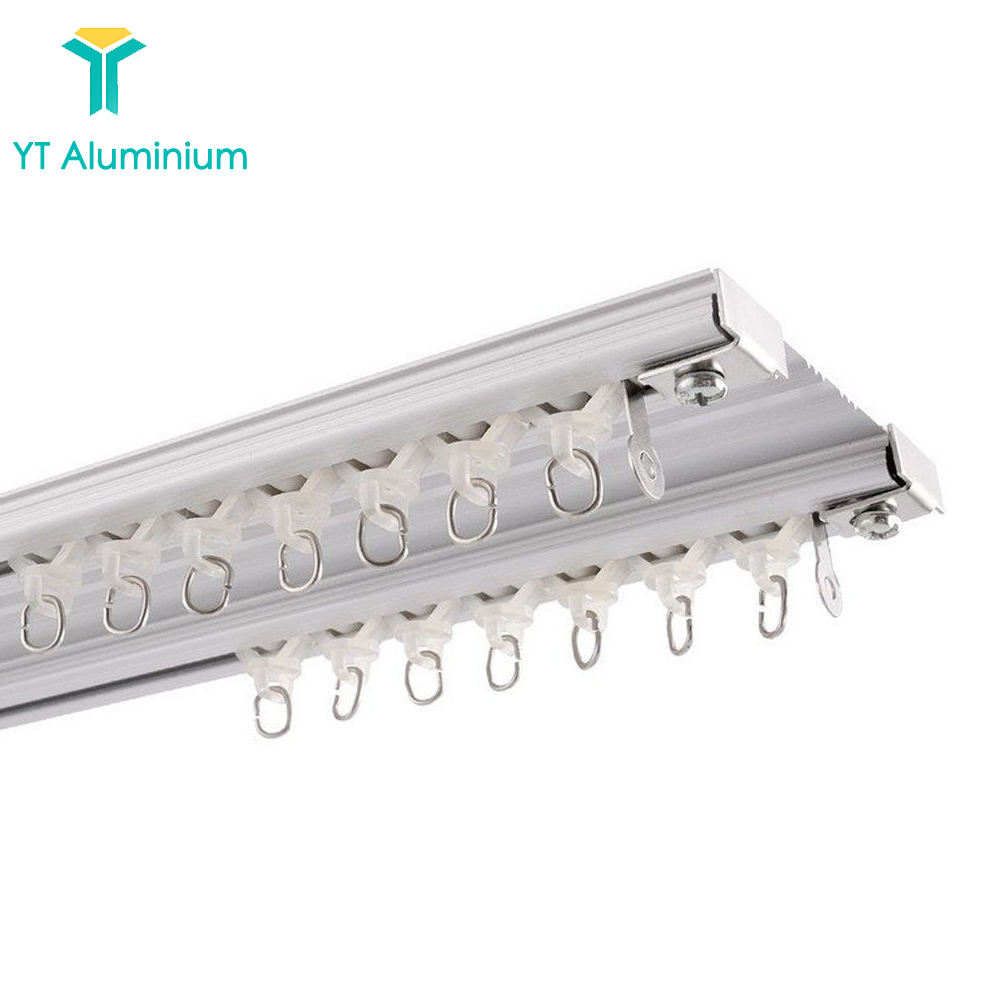 Alloy Heavy Duty Aluminum Ceiling Curtain Track for Bay Window Double Rail