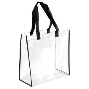 Clear plastic handbag, NFL Stadium Approved PVC Tote with black handles