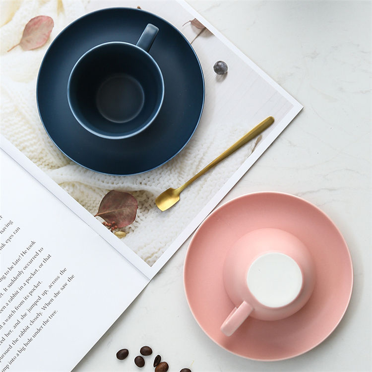 European style pink blue matte glaze cheap ceramic latte coffee cup saucer for hotel