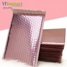 Custom Printed Metallic Foil Rose Gold Plastic Envelopes Mailing Padded Poly Bubble Mailer Bag