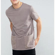 Fashion Style Collar Neck Pocket Tee Short Sleeve Blank T Shirt Customized