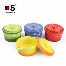 High quality stoneware handle small ceramic stew pot for microwave oven