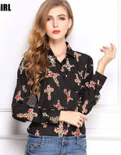 Wholesale new tops ladies long sleeve woman chiffon fashion print blouse