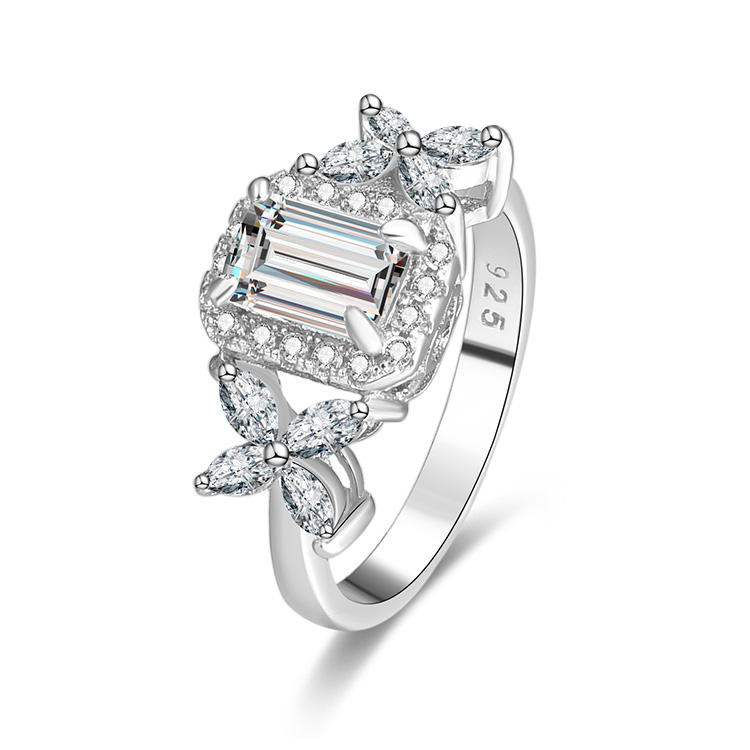 POLIVA 925 high quality Women jwelleries emerald cut engagement Sterling Silver diamond ring prices 18k diamond rings