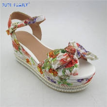 Summer Casual Sandals Fashion Print Lace Ribbons Women Sandals Wedges Platform High Heel Shoes