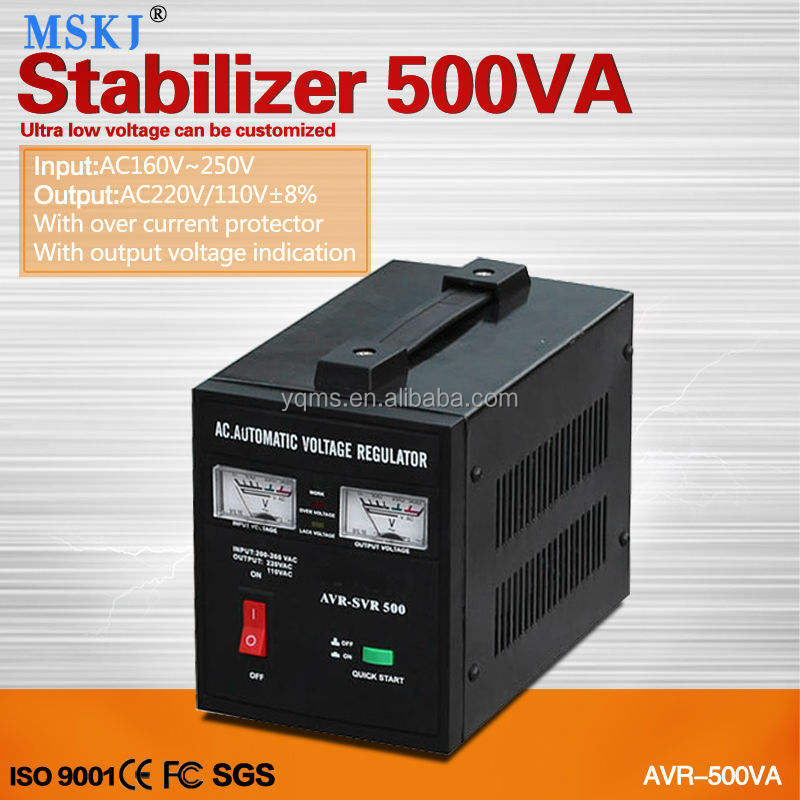 AVR-500W Relay type automatic voltage regulator, AC home voltage stabilizer
