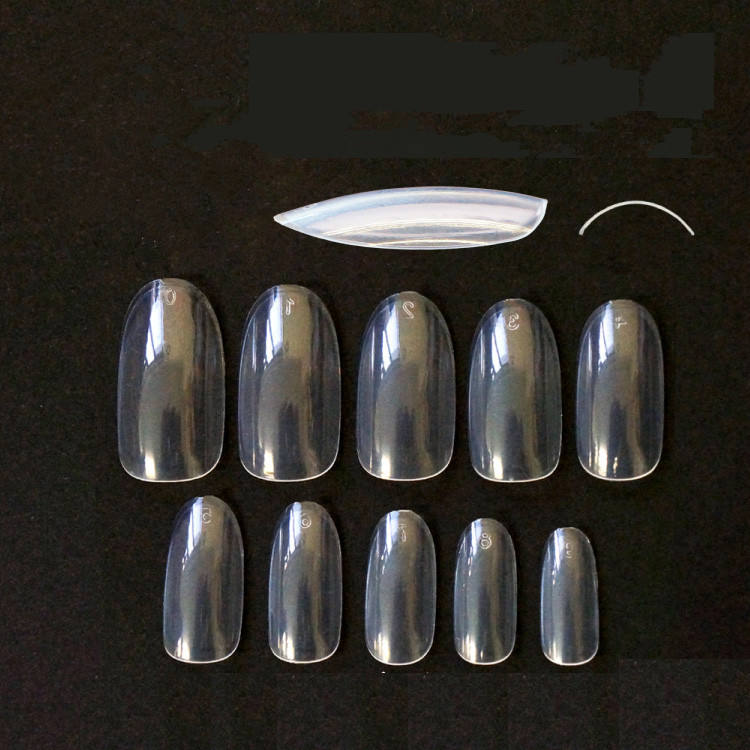 TSZS 500PCS False Artificial Clear Oval Full Cover Nail Tips