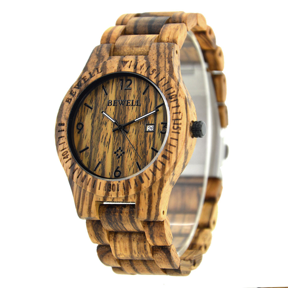 Super Thin Wood Wrist Men Watch with Japan Movt Quartz Watch Battery