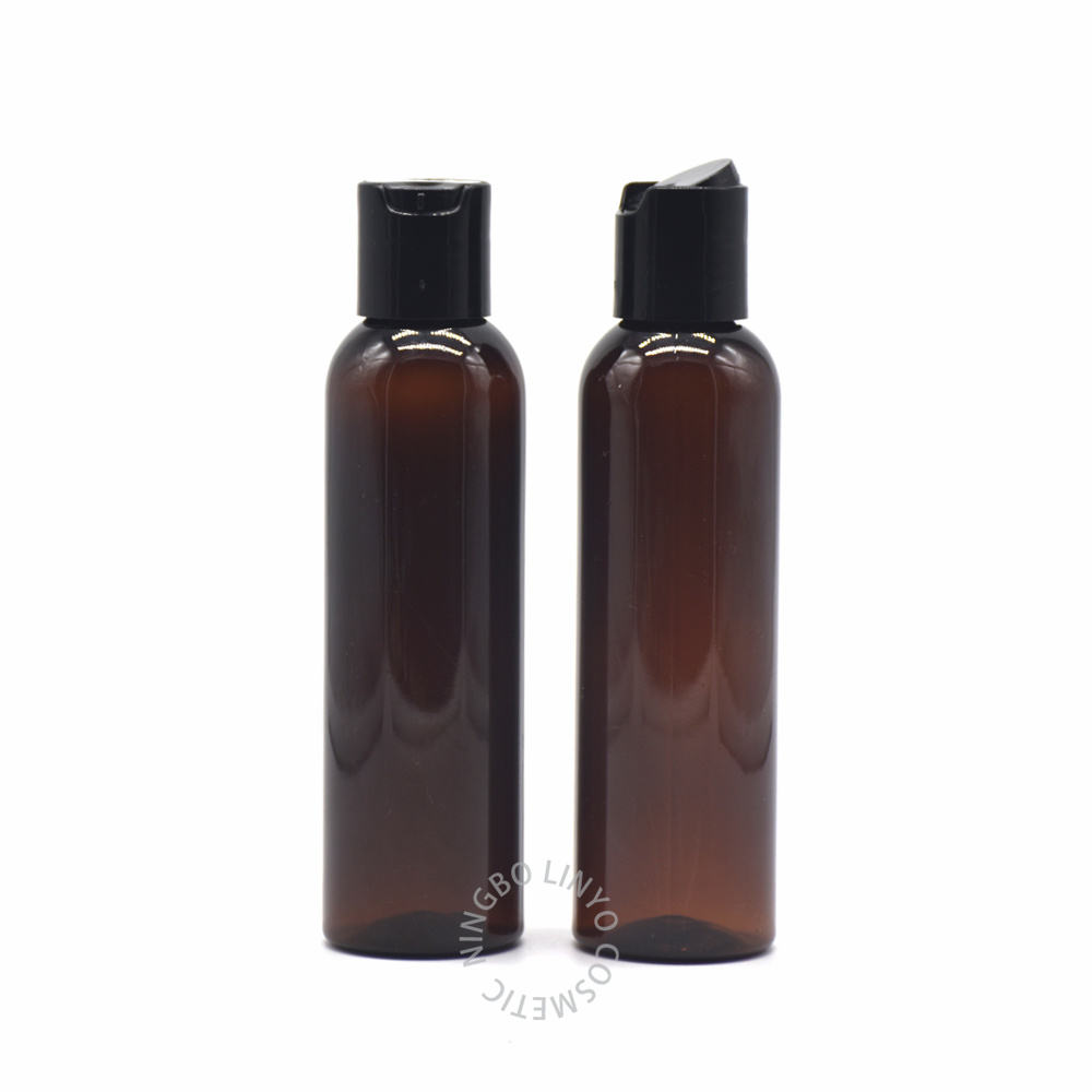 LINYO 150ml 250ml 3oz 8oz amber plastic PET lotion bottle with disc top cap, low MOQ cosmetic squeeze shampoo conditioner bottle