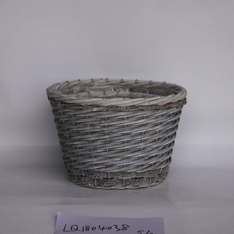2018 Christmas decorative iron wire wicker flower basket vintage willow baskets