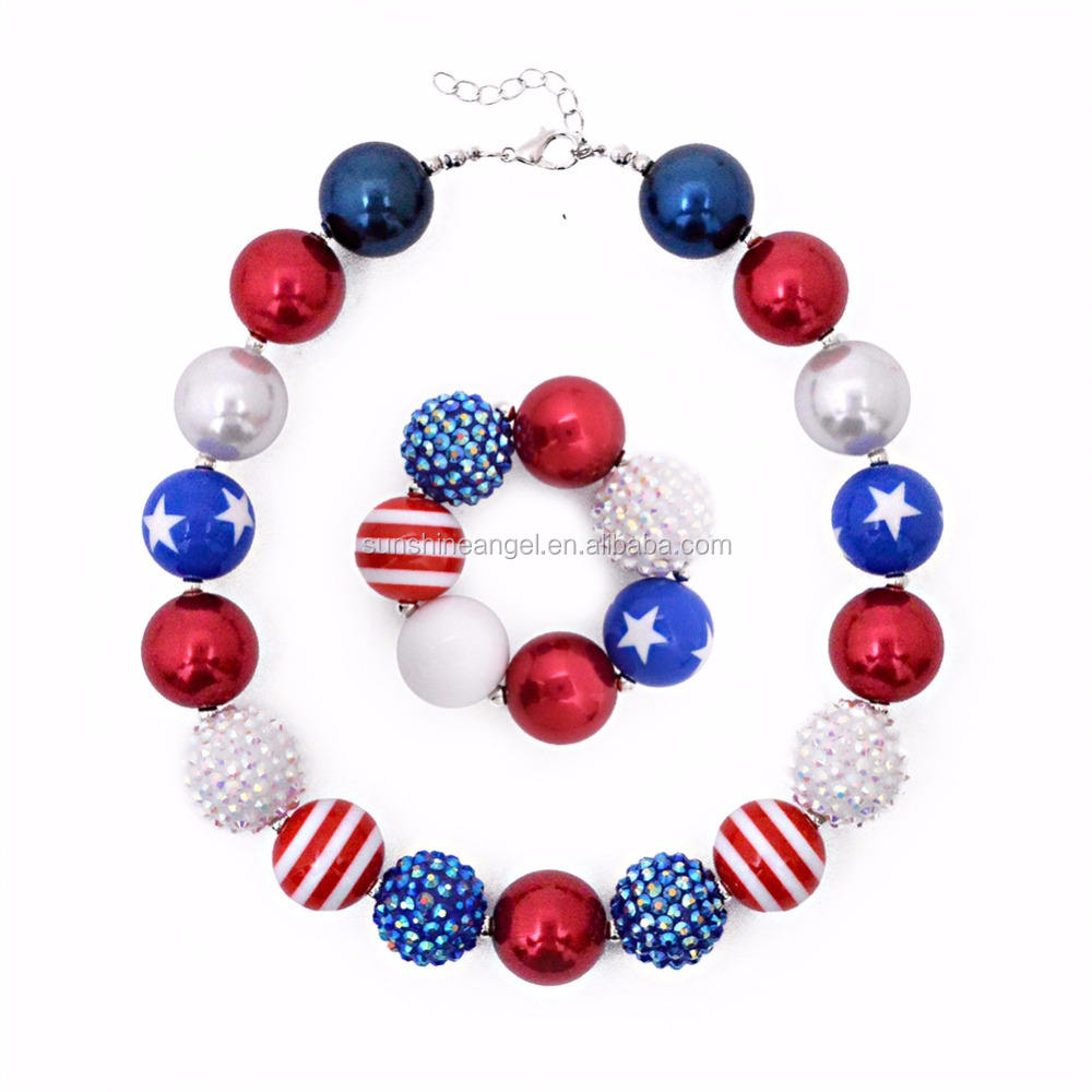 Wholesale 4th of July Kids Chunky Bubblegum Latest Design Beads Necklace