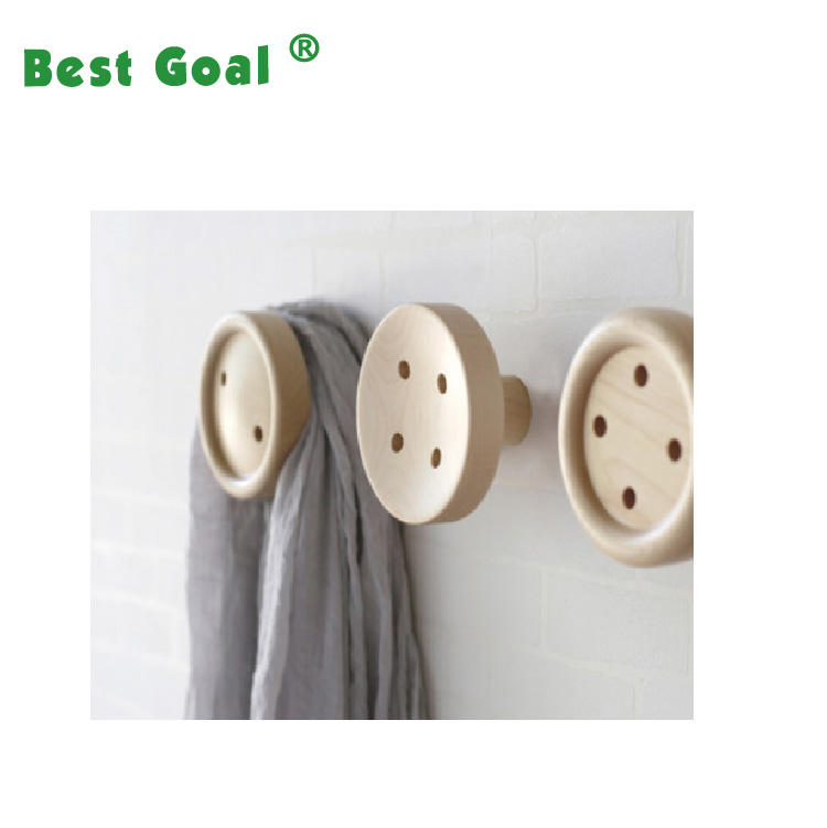 Button Shape Wooden Wall Hanging Hook for Girls