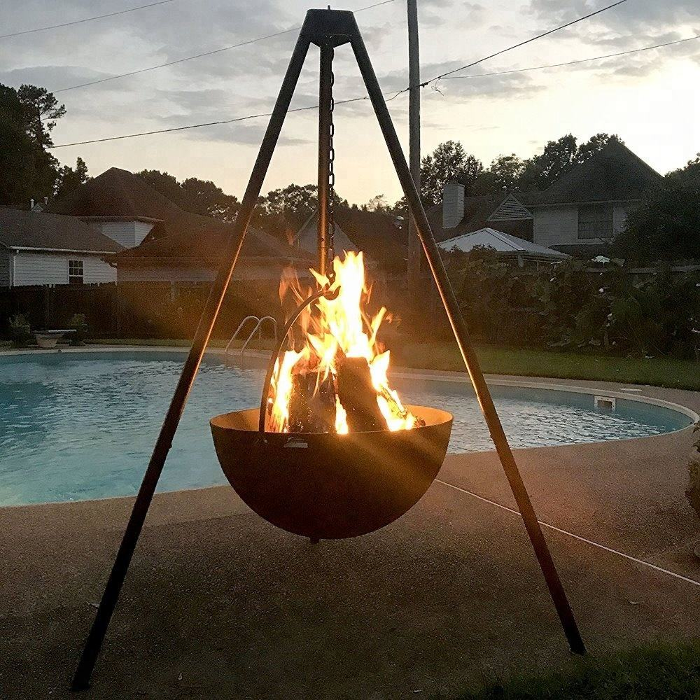 Extra Large Cast Iron Cauldron Fire PitとTripod Stand Heavy Duty Cooking Grill