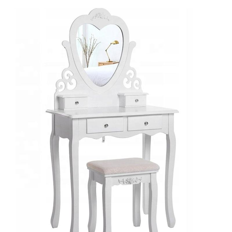 Factory High Quality Wholesale Vanity Table Set with Oval Mirror/ 4 Drawers,Wood Makeup Dressing Table w/Cushioned Stool White
