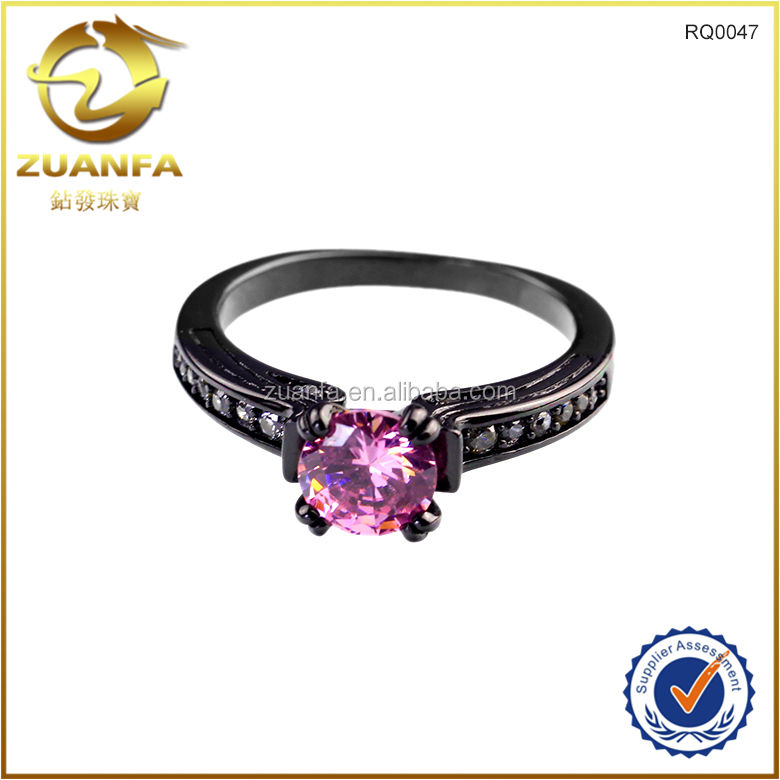 Engagement ring 14 kt black gold filled pink Sapphire wedding rings