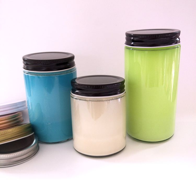 Airtight Glass Wide Mouth Straight Sided Canning Preserving Jars With Metal Lids For food storage and Candles