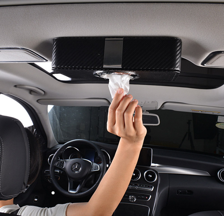 Convenient Patented Factory Elegant Self Magnetic Soft PU Leather car tissue holder for car tissue holder