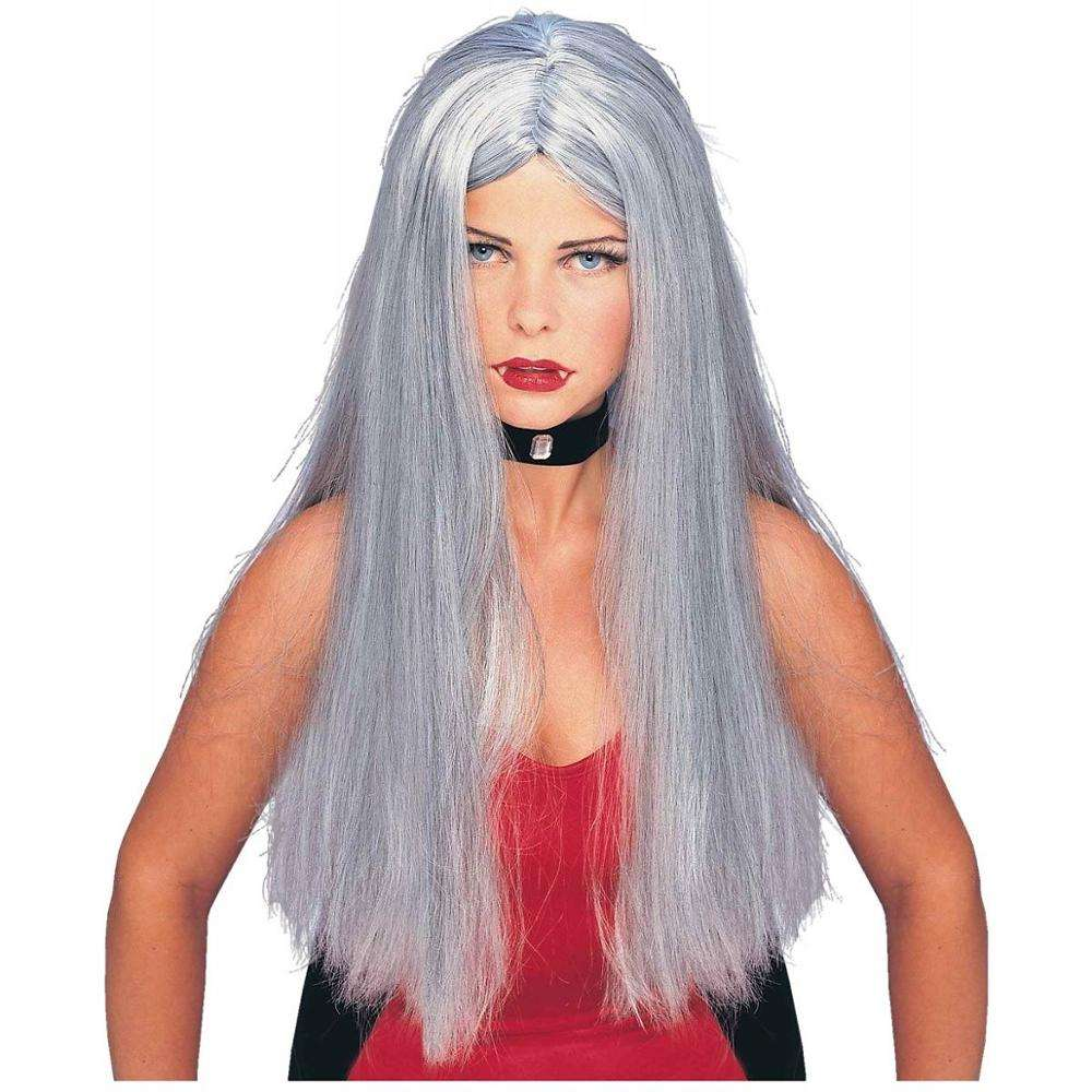 Grey Womens Halloween Costume Adult Witch Vampire 70s Cher Wig