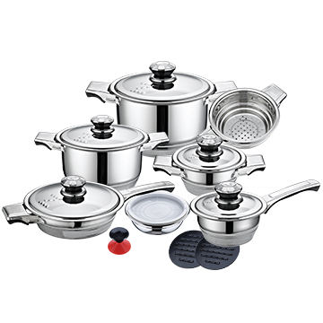 Hot sale 16pcs stainless steel cookware with cooking pot and pan set