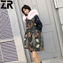 Wholesale Custom Real Rex Rabbit Fur Lined Parka / Women Autumn Winter Coat Luxurious Raccoon Fur Hood Real Fur Parka