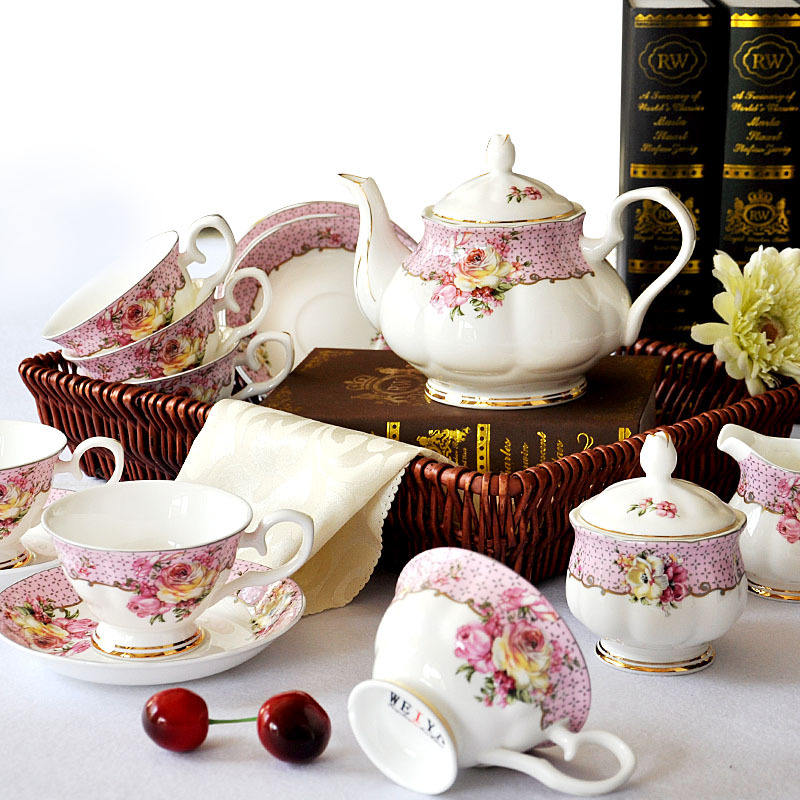 15pcs Bone porcelain coffee set coffee cups and saucers gift tea set customized acceptable