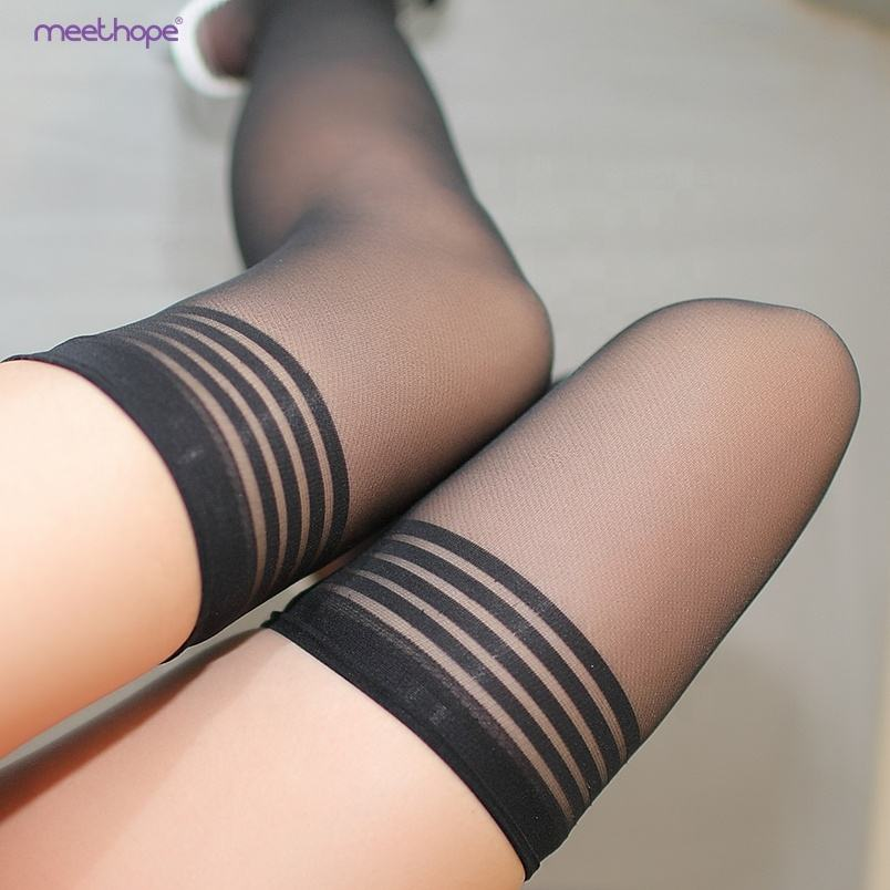 핫 manufacturer quality guarantee design young girls 한국어 stripe black sexy stocking