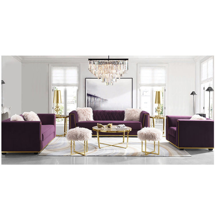 custom contemporary furniture purple sectional combination recliner sofa in china