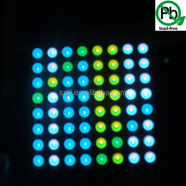 Penuh warna 3mm putaran Pixel 8x8 Dot Matrix LED Display