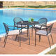 Stock 5 Pieces Outdoor Pool Furniture Round Black Steel Patio Dining Table Set with Black Mesh Dining Chair