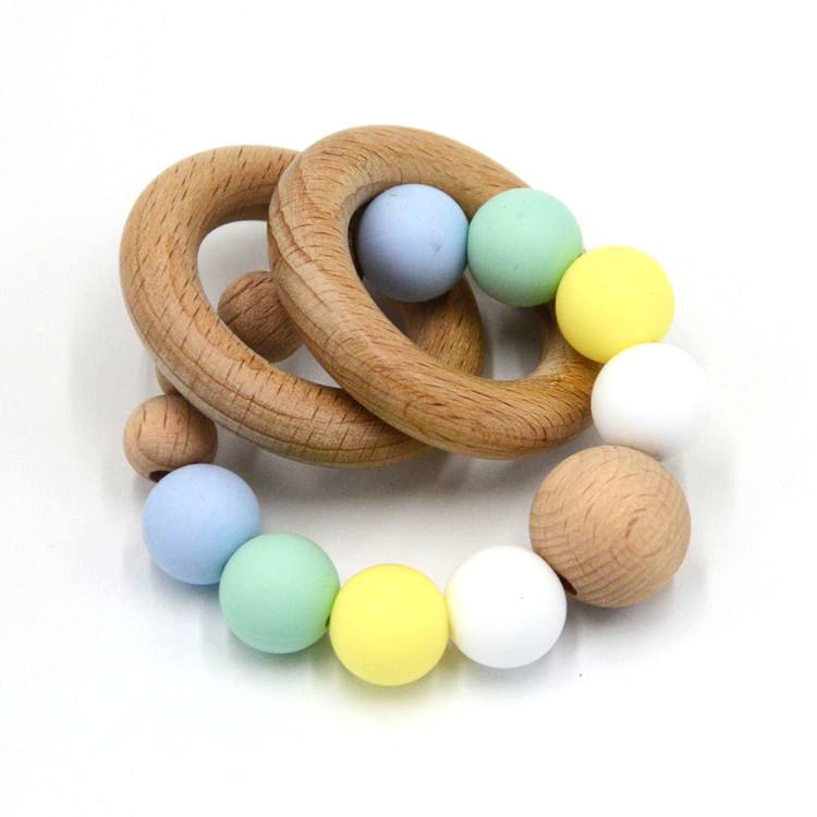Natural Beech Wooden Ring Rattle FDA Silicone Beads Baby Teething Bracelets
