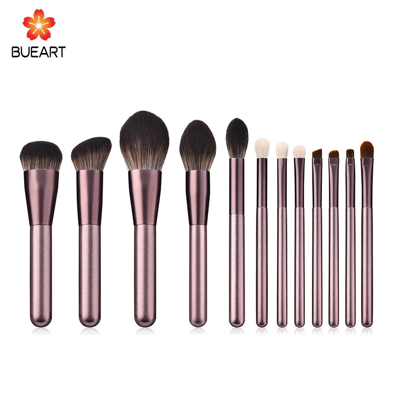 Hohe Qualität private label make-up pinsel 12 pcs mit Halter Zylinder make-up pinsel set