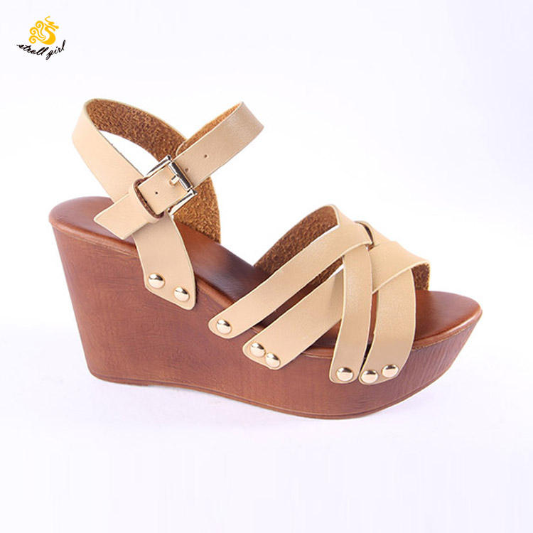 custom OEM ODM ladies sandal in guangzhou leather girl wedge heel personalized sandals