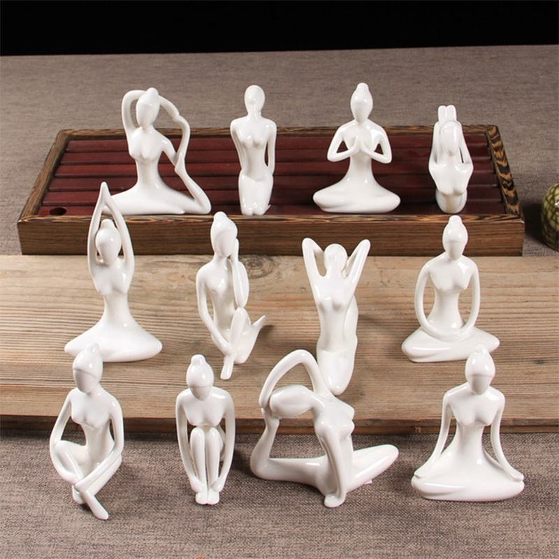 12 Styles White Ceramic Yoga Figurines Ename Yoga Miniatures Abstract Yog Stattues Yoj Figurines Vintage Home Decor