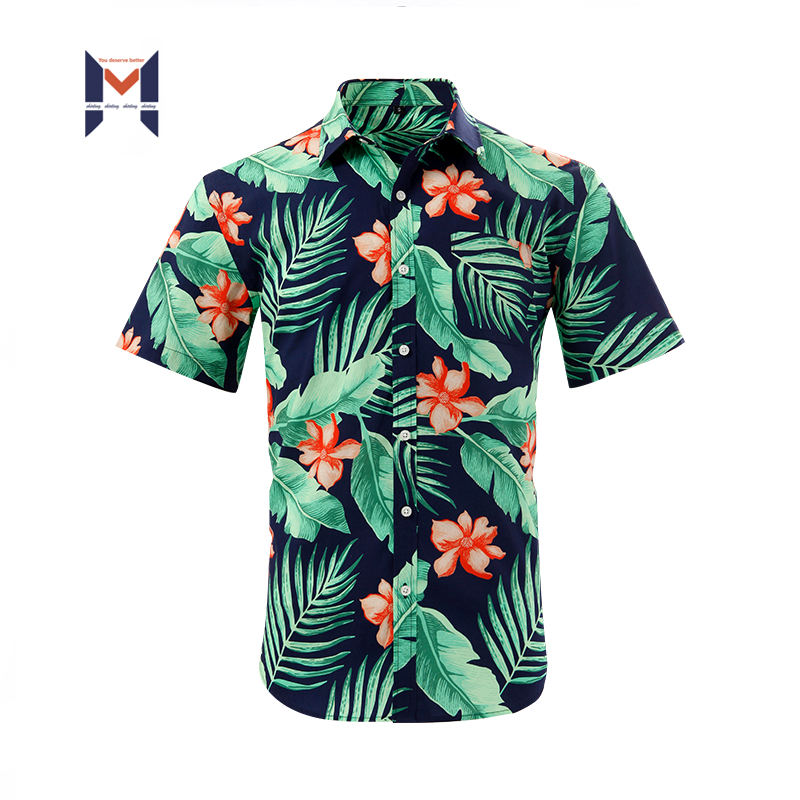 Custom Short Sleeve Shirt Printing Eco Friendly Hawaiian Shirts For Men