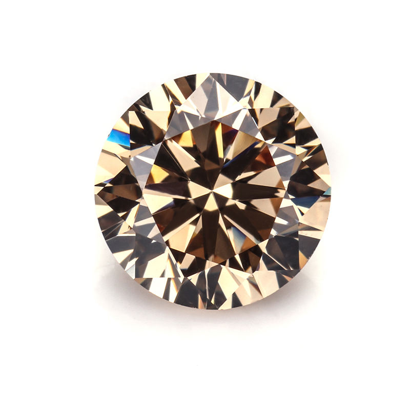 All Size Available Loose Gemstones Champagne 7.5mm Round Brilliant Cut Color Cubic Zirconia