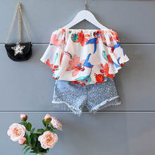 Latest Baby Girls Summer Set 2020 New Style Fashion Flower Chiffon Kids Clothes Wholesale Children's Wear