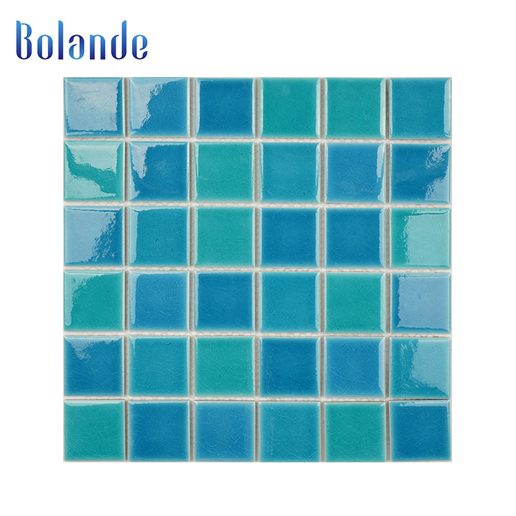 Ceramic Mosaic Tile Wholesale Porcelain Ice Crackle Mosaic Tile 300x300 Glazed Aqua Blue Ceramic Mosaic Swimming Pool Tiles