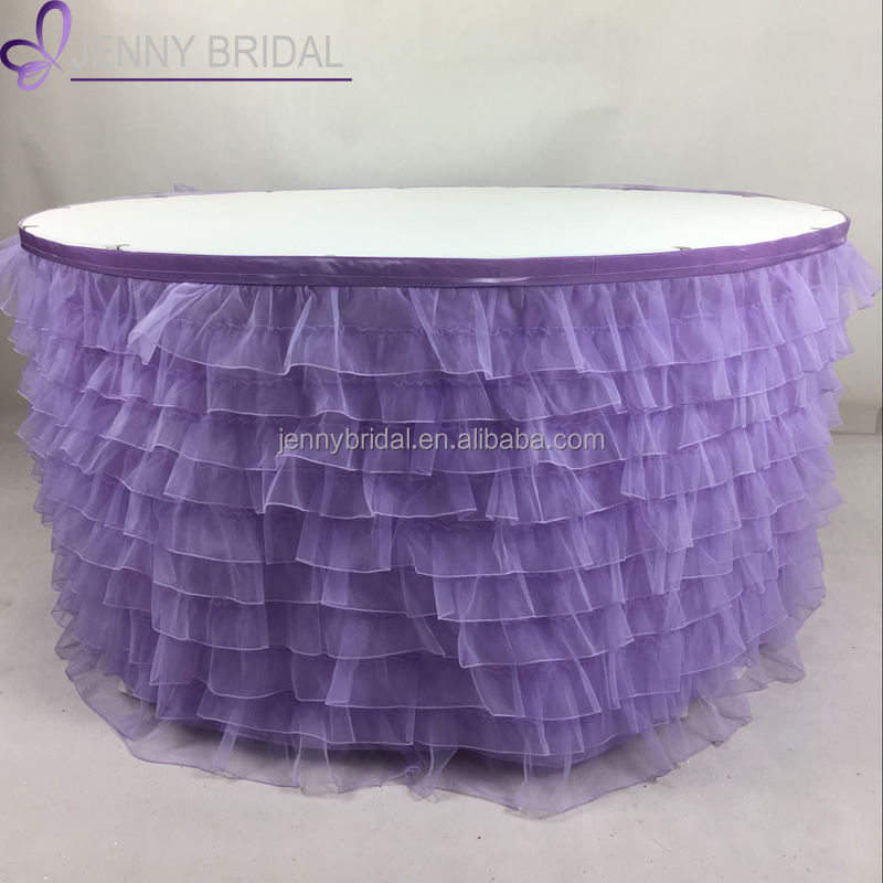 TC009 modern jenny bridal purple pleated handmade ruffled table skirt
