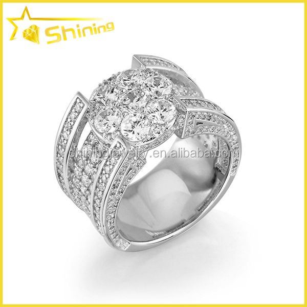 Hiphop rhodium placcato aaa cz 925 sterling silver iced out cz anello di pietra