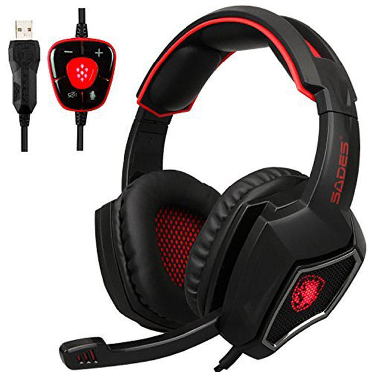 Sades Spirit Wolf USB 3.5mm Jack Over-Ear Gaming Headset Headphones with Microphone Volume Control LED Lights for PC