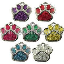 Eco-friendly ID Tags Collar & Leash Type and Small Animals Application Glitter Paw Dog Tag