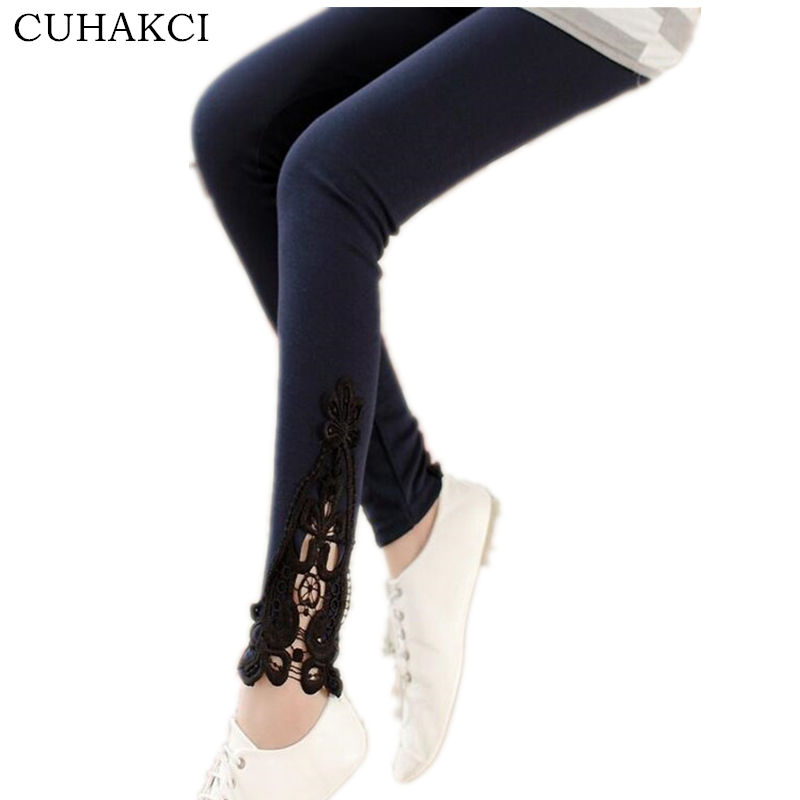 CUHAKCI Fashion Lace Solid Color Women Leggings Elastic Casual Embroidered Leggins Skinny