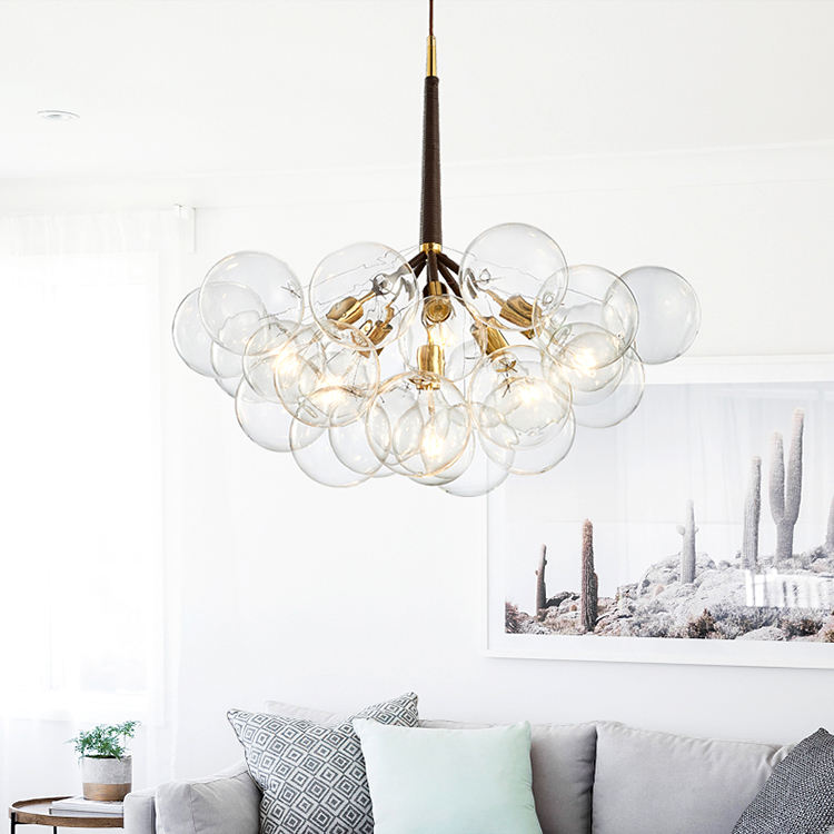 Artistic Modern Cluster Chandeliers multi glass bubble pendant light