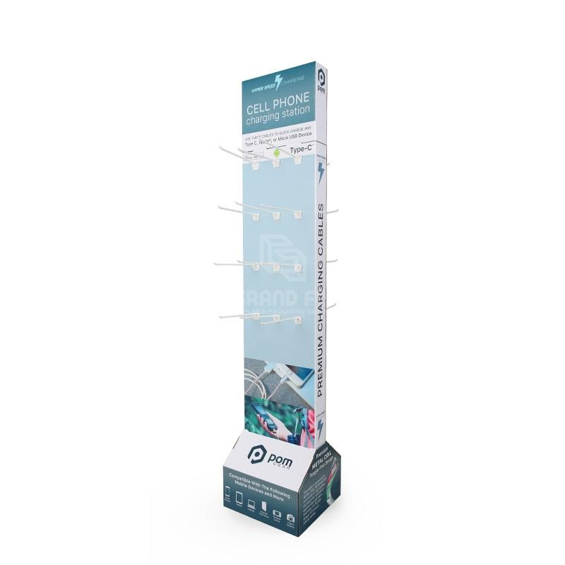 CMYK Printing Custom 2 Side Cardboard Floor Display with Hooks Corrugated Peg Hook Display Stands for Retail