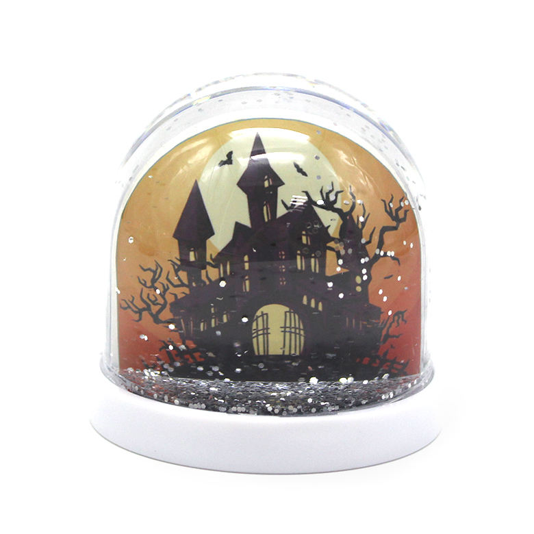Halloween items insert water globe plastic snow globe with photo frame snow globe