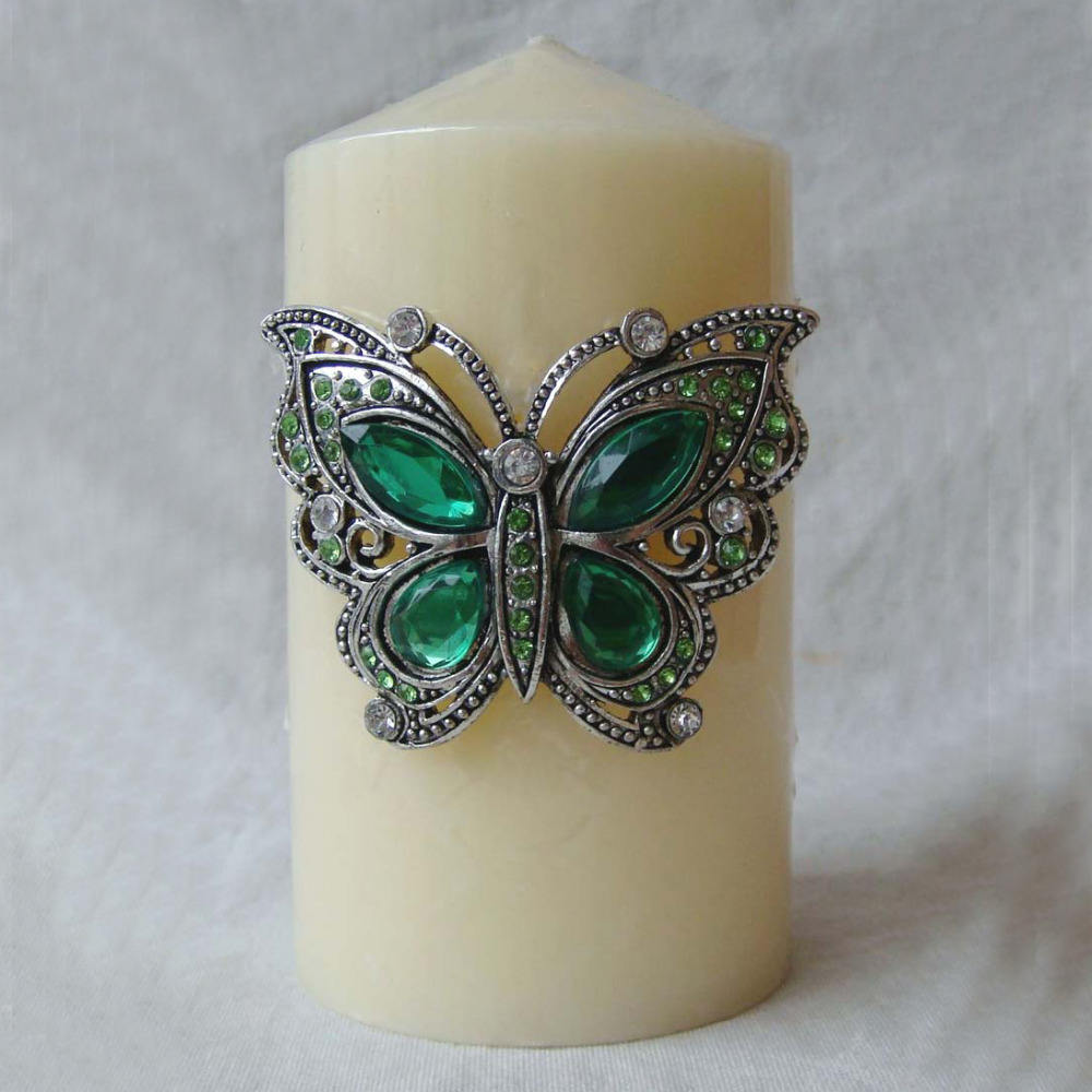 Antique Silver Green Stones Jeweled Butterfly Design Metal Candle Pin