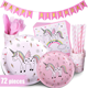 Custom Unicorn children's birthday party sets paper cups, plates, napkins, tablecloths party supplies