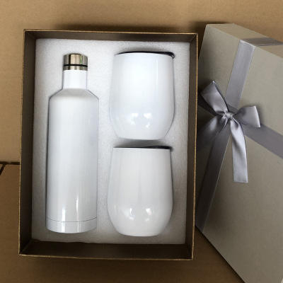 hot sale Gift Set 500ml Stainless Steel Wine Bottle with Egg Shape Ice Cold Wine Tumbler wholesale factory supplier gift set